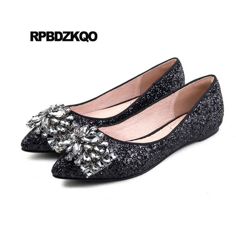 ... Sequin Chinese Wedding Shoes Flats. . Slip On 12 44 Crystal Silver  Women 11 Pointed Toe Glitter Dress Fur Large Size Rhinestone. sku   32864862755 bf79a765bc0c