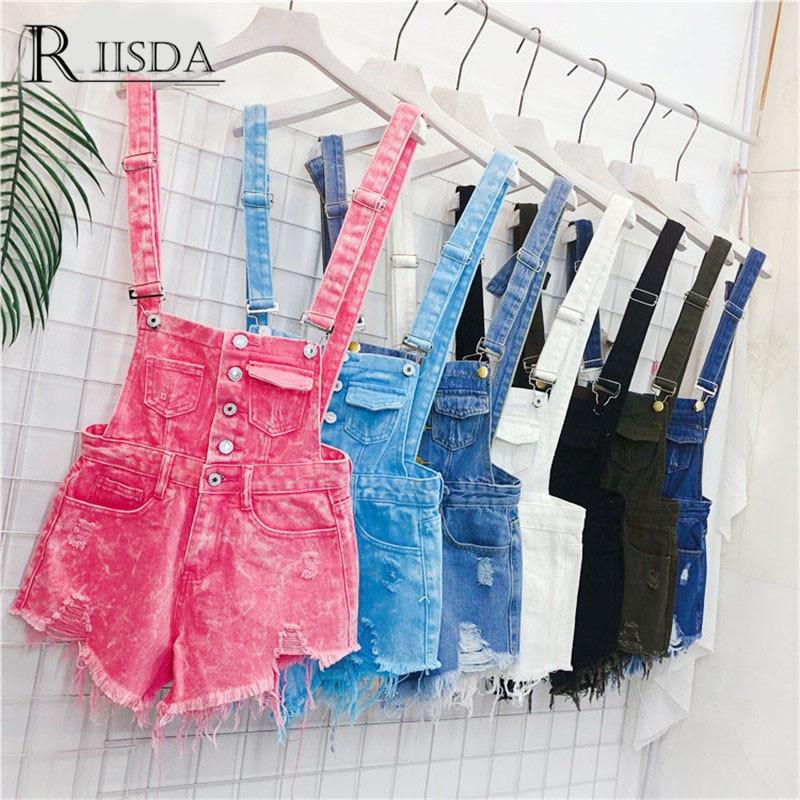 RIISDA Women Denim Overalls Korean Style   Jumpsuits   Female Denim Playsuit Cotton Straps Tracksuits Women High Waist Rompers