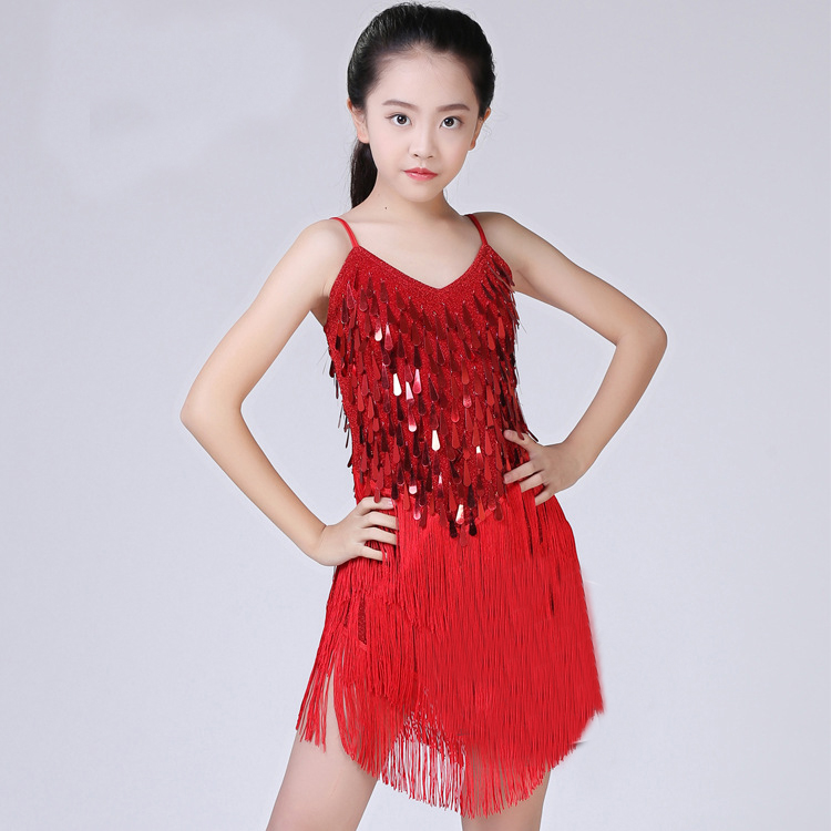 Sequin Fringe Latin Dress Children Latin Dance Dress Girls Girl Ballroom Dance Competition Dresses Kids Salsa /Tango / Cha Cha