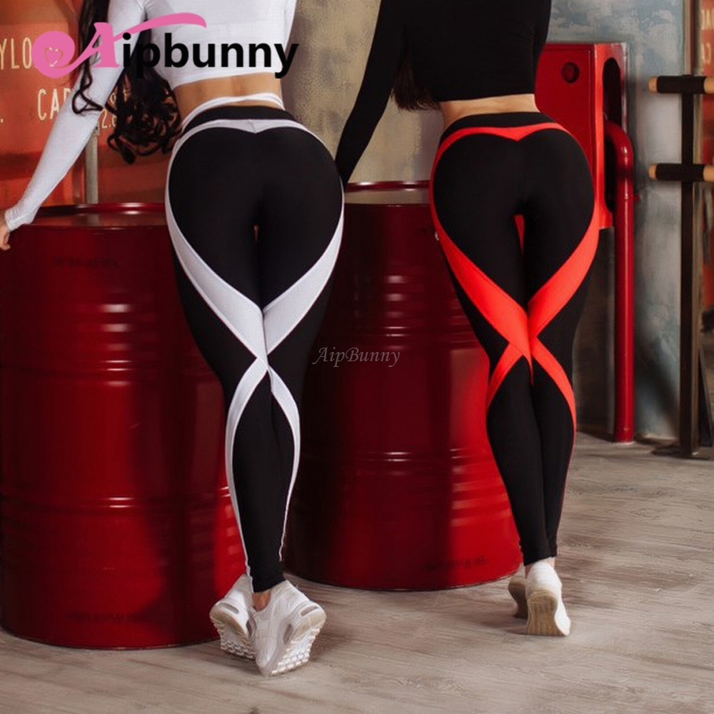 Strip Heart Shape on Hip Push up Sexy Womens Leggings High Waist Elastic Slim Fit Compression Big Girl Sweat Pants Trousers