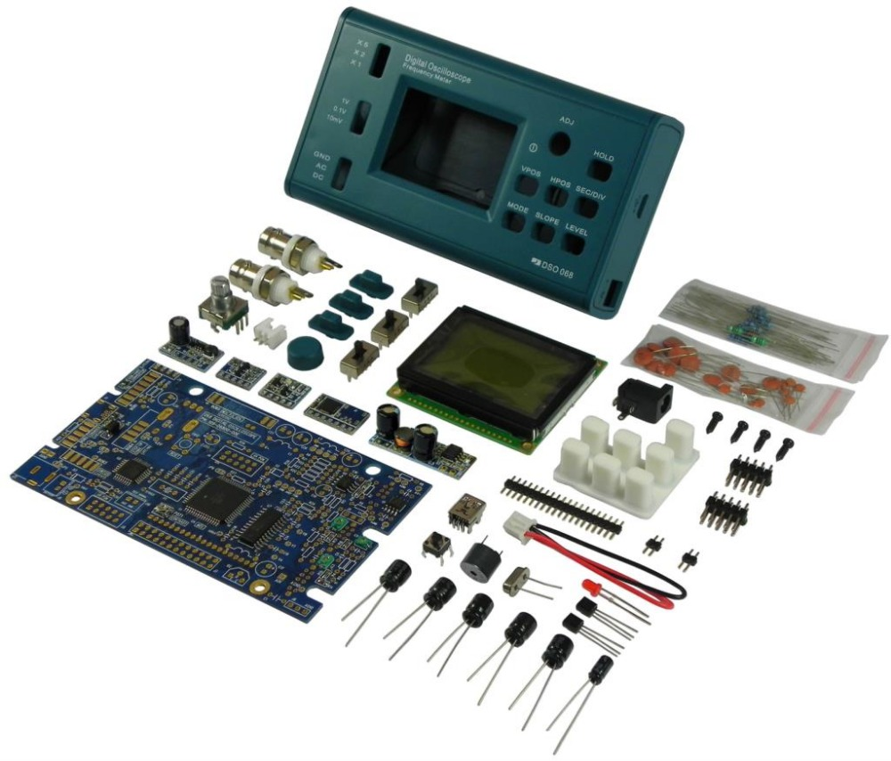 osilaskop LCD Digital Storage Oscilloscope/Frequency Meter DIY Kit with Professional BNC Probe USB Interface DSO 20MSa/s 3MHz цена и фото
