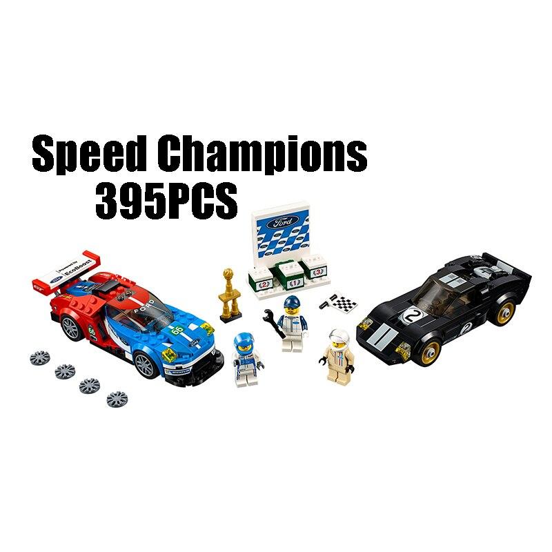 WAZ Compatible Legoe Technic Speed Champions 75881 Lepin 28004 395pcs Ford GT & GT40 building blocks Figure toys for children