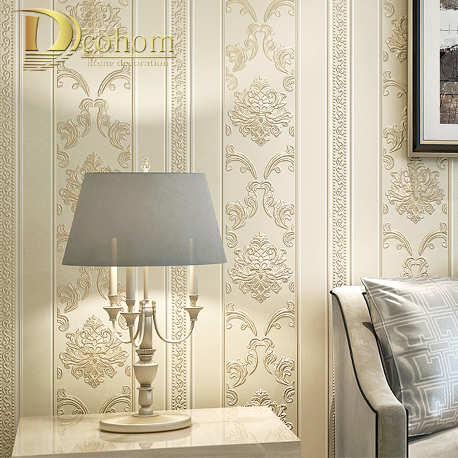 Moderne Luxus Häuser Decor Europäischen Gestreifte Damast Wallpaper Für Wände  Schlafzimmer Wohnzimmer Geprägte Grau Beige Wand Papierrollen