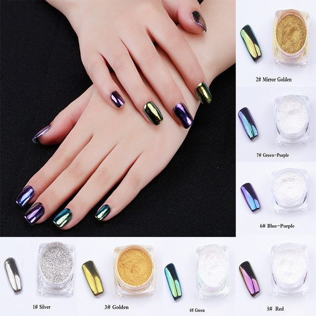 7 color Metal Nail Art Tip Decoration Pigment Glitters Dust 1 pcs 2g ...