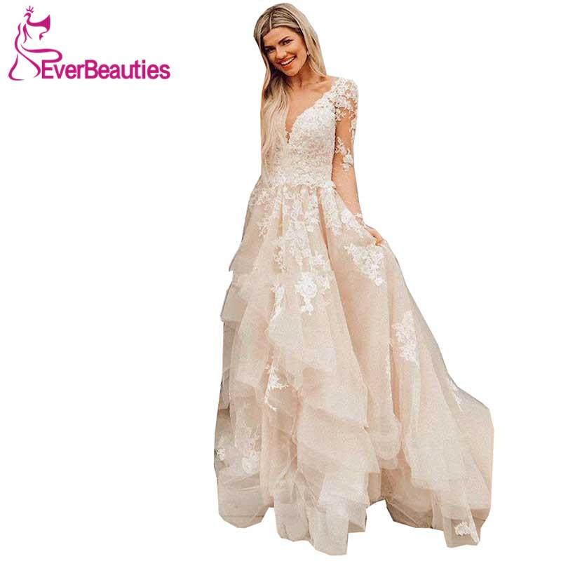 9ea6af45315460d Свадебные платья с v-образным вырезом 2019 простые тюлевые длинные рукав с  накладной аппликацией Vestido