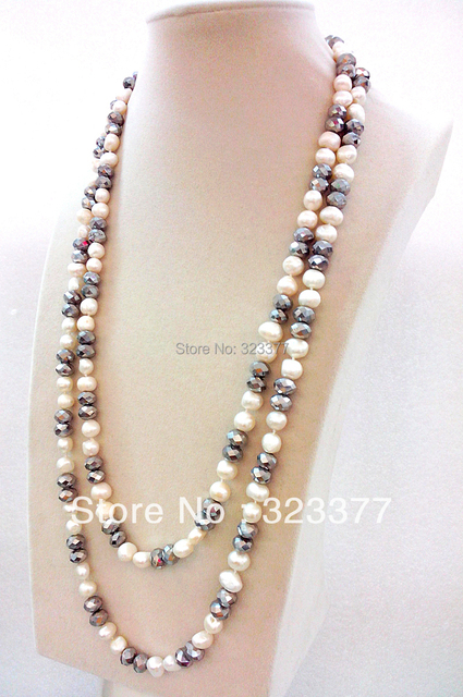 Low Price For 130 cm Long Beautiful  Freshwater Pearl  And Crystal Sweater Necklace
