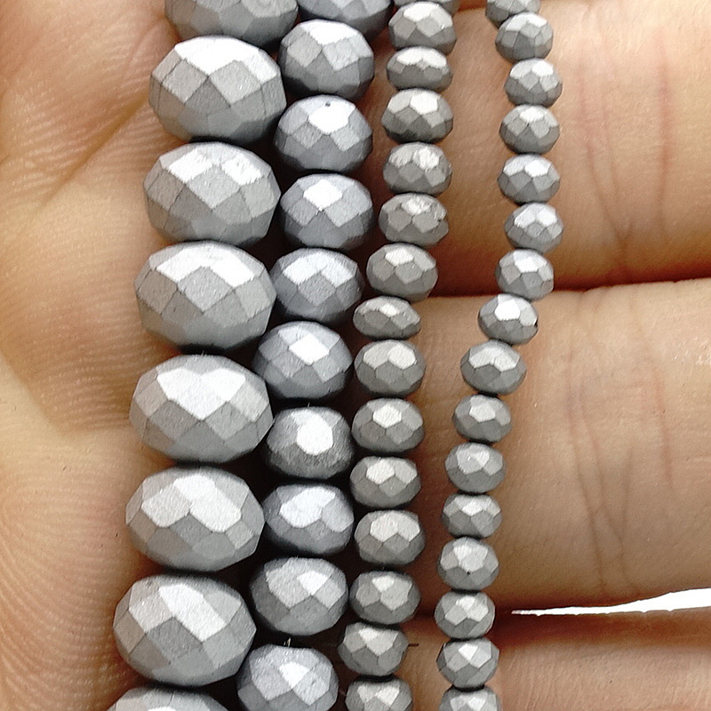 2018 New Color Rondelle Faceted Silver Crystal Glass Loose Spacer Scrub Beads 3mm 4mm 6mm 8mm