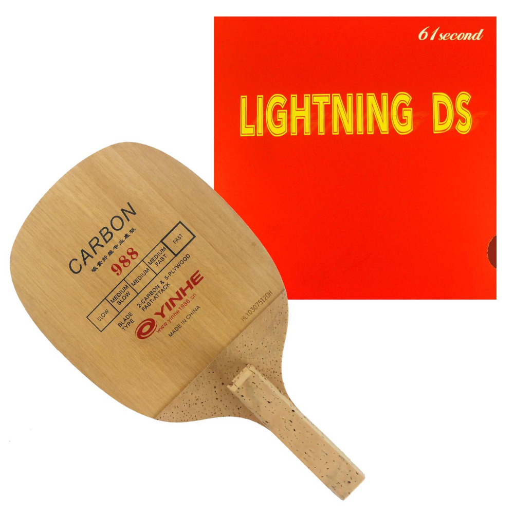 Galaxy YINHE 988 Blade with 61second Lightning DS NON-TACKY Rubber for a Table Tennis Combo Racket Japanese Penhold JS galaxy yinhe emery paper racket ep 150 sandpaper table tennis paddle long shakehand st