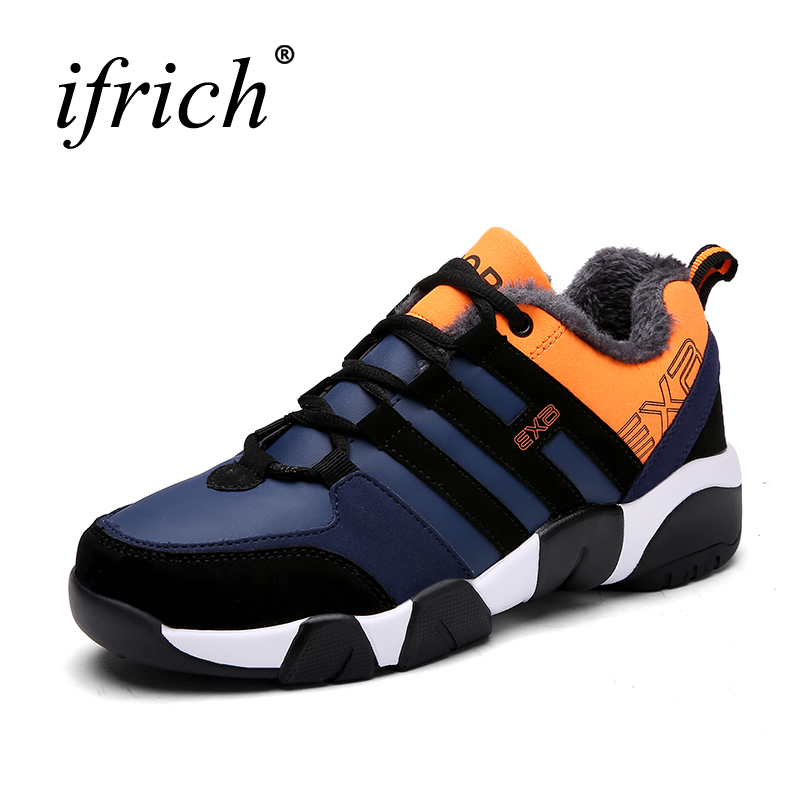Ifrich Hot Sale Autumn Winter Mens Sneakers Shoes Fur Warm China Sports Sneakers Thermal Mal Big Size Athletic Footwear