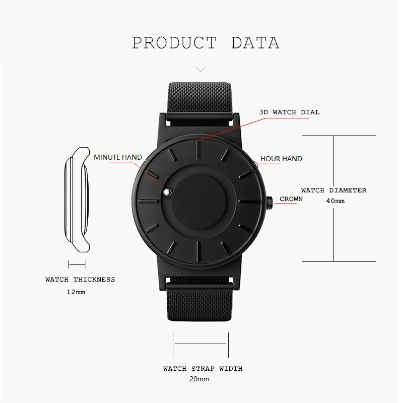 2018 reloj de nuevo estilo para hombre, EUTOUR, bola magnética, reloj de pulsera innovador, correa de nailon para hombre, reloj de cuarzo, moda erkek kol saati - 3