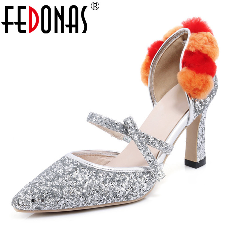 FEDONAS New Summer Sexy Women Pumps Elegant Buckle Bling High Heels Party Wedding Shoes Woman Pointed Single Ladies Pumps