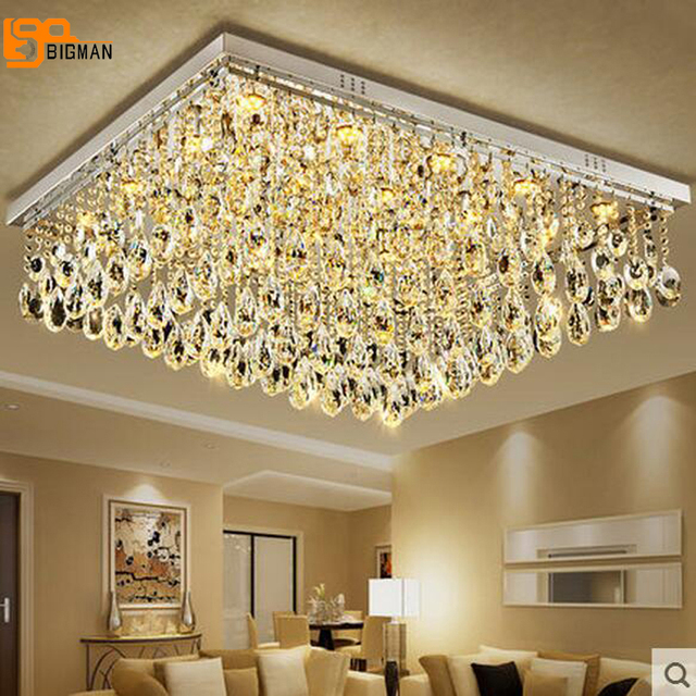 New Large Modern Crystal Chandelier Living Room Lamp Flush Mount Led Light Hotel