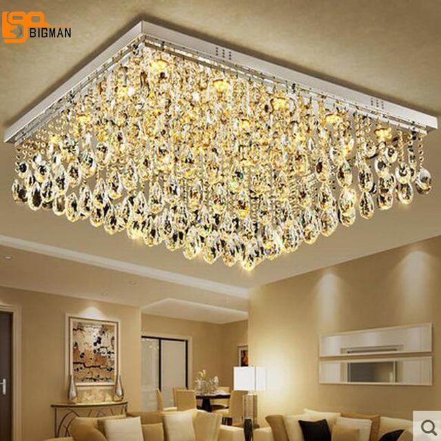 New Large Modern Crystal Chandelier Living Room Lamp Flush Mount Led Light Hotel