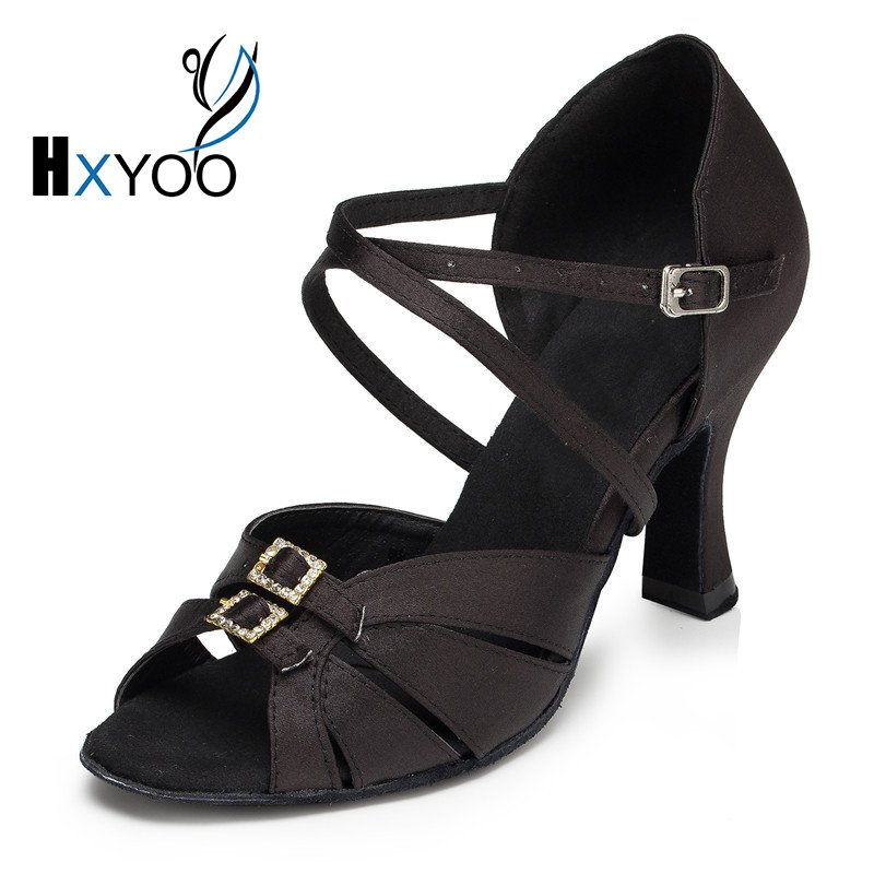HXYOO Rhinestone Buckle Black Gold Satin Salsa Shoes For Ballroom Dancing Heel Customized Latin Dance Women Sandals Girls 1810 samba latin ballroom dancing women satin dance legend ballroom shoes girls close toe rhinestone salsa dancing shoes xc 6372