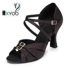 b1e36c30c2 HXYOO Rhinestone Buckle Black Gold Satin Salsa Sapatos Para Dança De Salão  Calcanhar Personalizado Dança Latina Mulheres Sandáli.