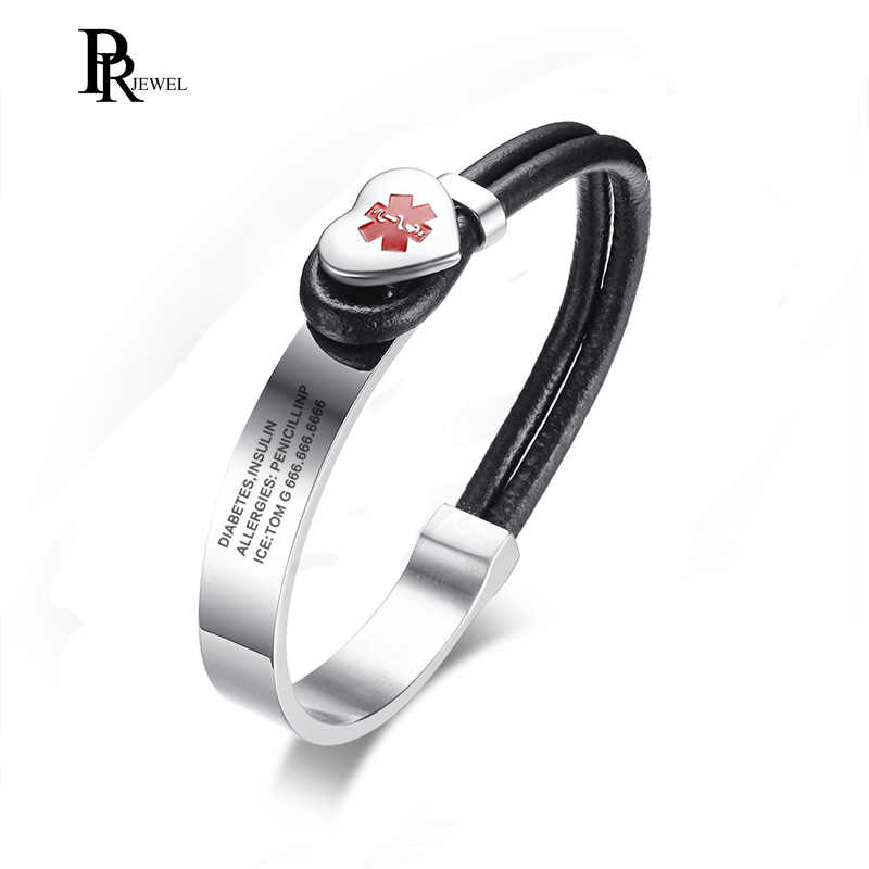 2018 NEW Arrival Customized Free Engraving Black PU Leather Stainless Steel Heart Charm Medical Alert ID Bracelet