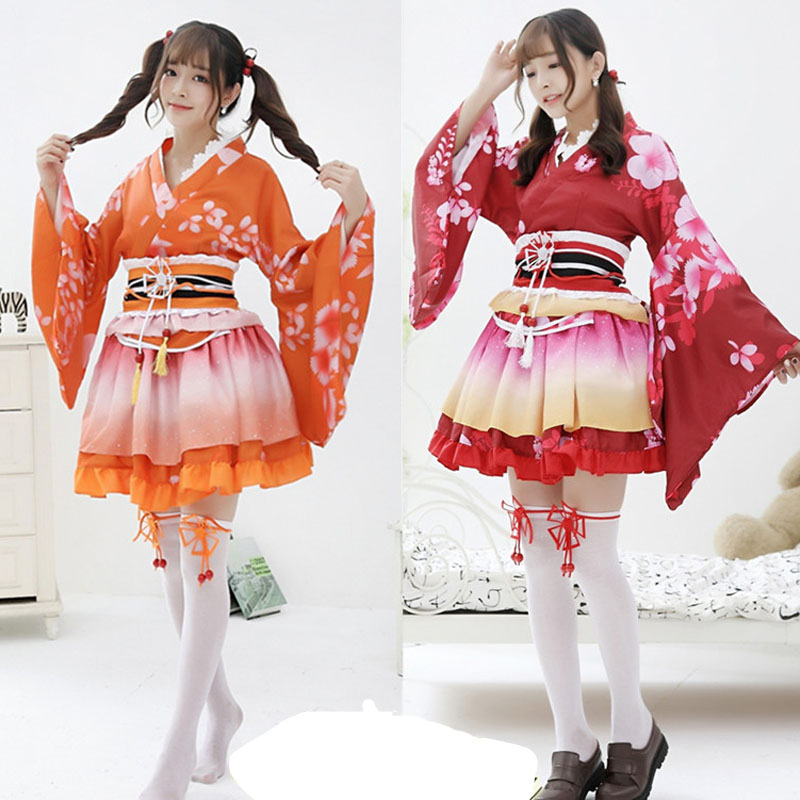 Girls <font><b>Sexy</b></font> Anime love live cosplay Costume Japanese Kimono Vintage Original Tradition Yukata <font><b>dress</b></font> <font><b>Halloween</b></font> Costumes For <font><b>Women</b></font> image
