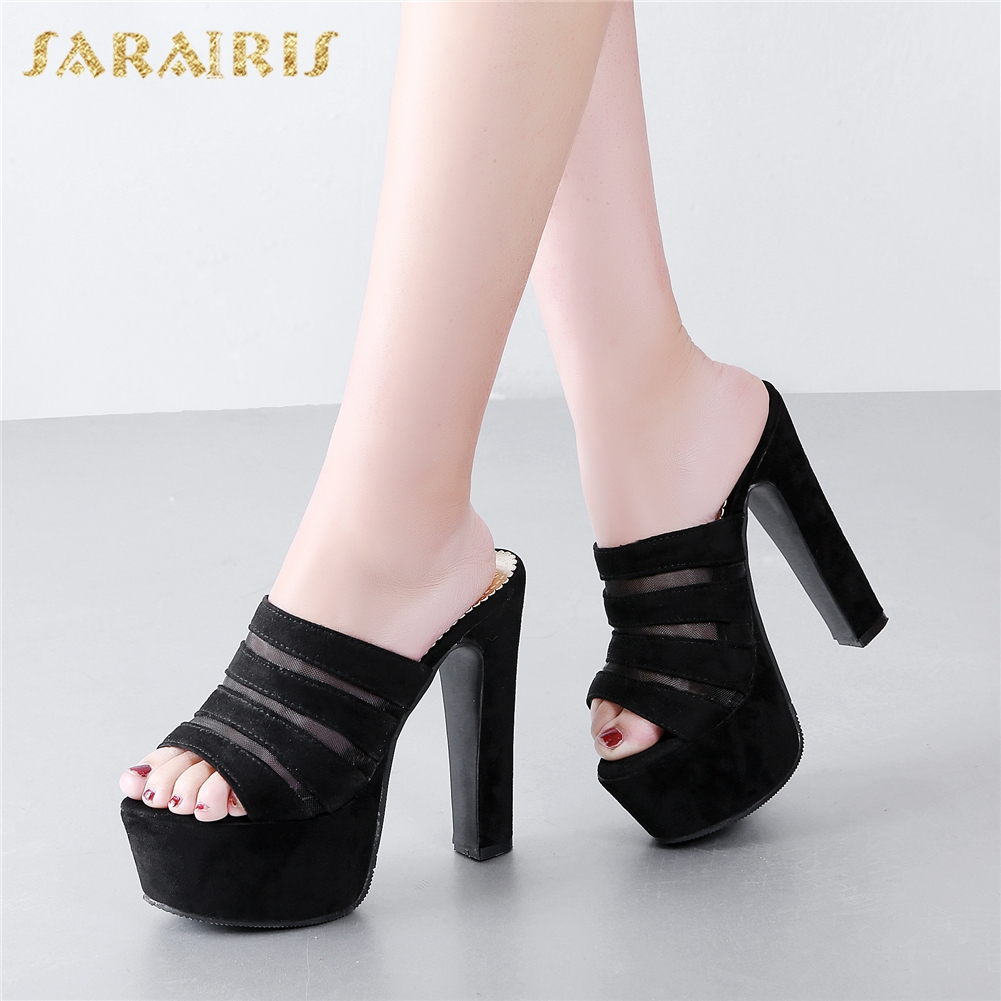 SARAIRIS 2018 Brand New Platform Plus Size 31-48 Party Shoes Woman Sandals Sexy High Heels Flock womens Mules PumpsSARAIRIS 2018 Brand New Platform Plus Size 31-48 Party Shoes Woman Sandals Sexy High Heels Flock womens Mules Pumps