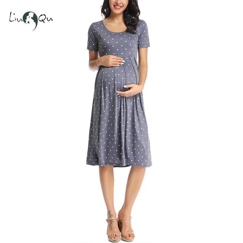Women Summer Pleated Polka Dot Loose Swing Casual Midi Maternity Dress Pregnancy Dress Short Sleeve Knee Length Pregnant Clothes