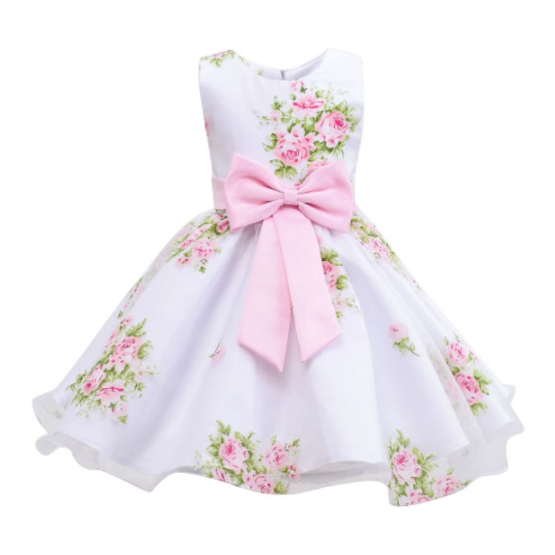 new summer lovely baby girl print flower girl dress for wedding girls party dress with bow dress Princess Vestids for 2-12 Years free shipping new arrival 2015 fashion summer baby girl lovely flower sleeveless bowknot round neck party dress hot sale