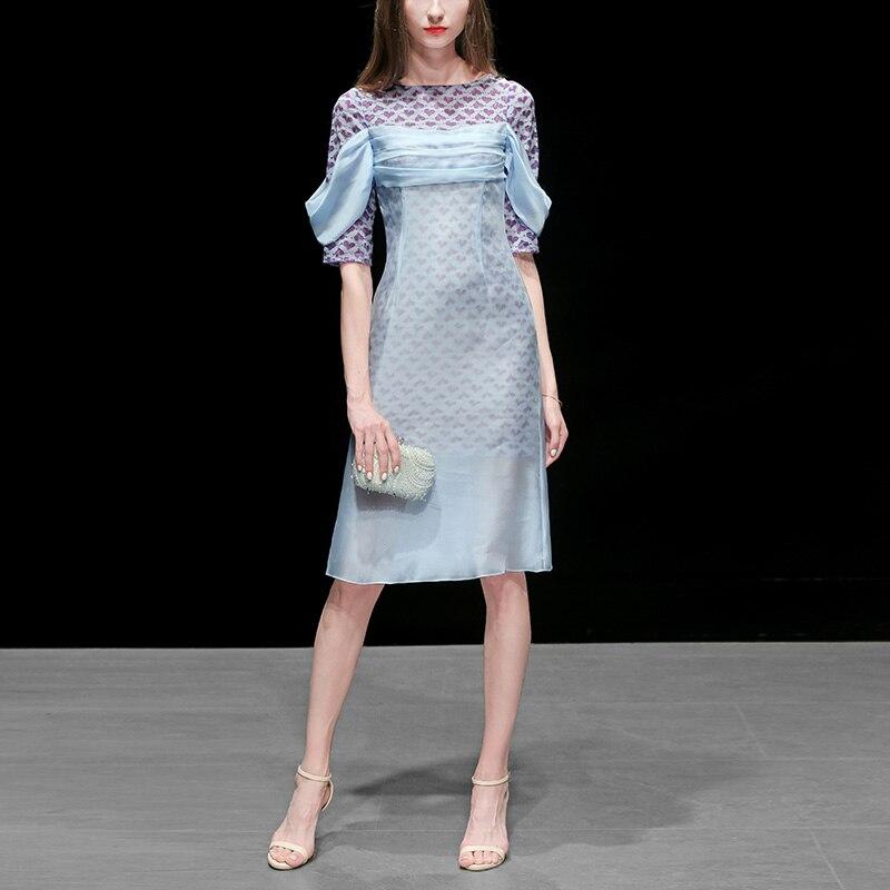 Seifrmann mode piste été tenue décontractée femmes dentelle géométrique à manches courtes en mousseline de soie élégante mince dames robes