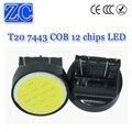 HK Post 200X Super bright Car W21/5W T20 7443 COB 12 chips 12chips LED Brake light led White red blue yellow DC 12V
