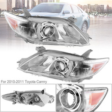Waterproof Headlamp Clear Projector Left/Right 2 Pcs Headlight Replacement US Built Fit for 2010 2011 Toyota Camry USA Modes