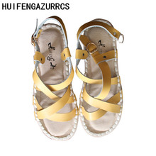 HUIFENGAZURRCS-Genuine Leather sandals buckle shoes handmade fashion Casual shoes,the retro art mori girl Flats