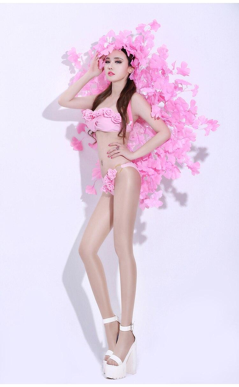 Dj Festival Performance Tenue Outfit Danse Usure De Chanteur Fleur Bikini Panneau Discothèque Défilé Set Aile Stade Ensemble Modèle qdBnC