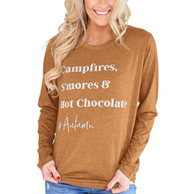 1pc Women Autumn T-shirts Long Sleeves Round Neck Letter Printed Pullover Female Tops GDD99 tropical style long sleeves round neck printed lace up swimsuit for women