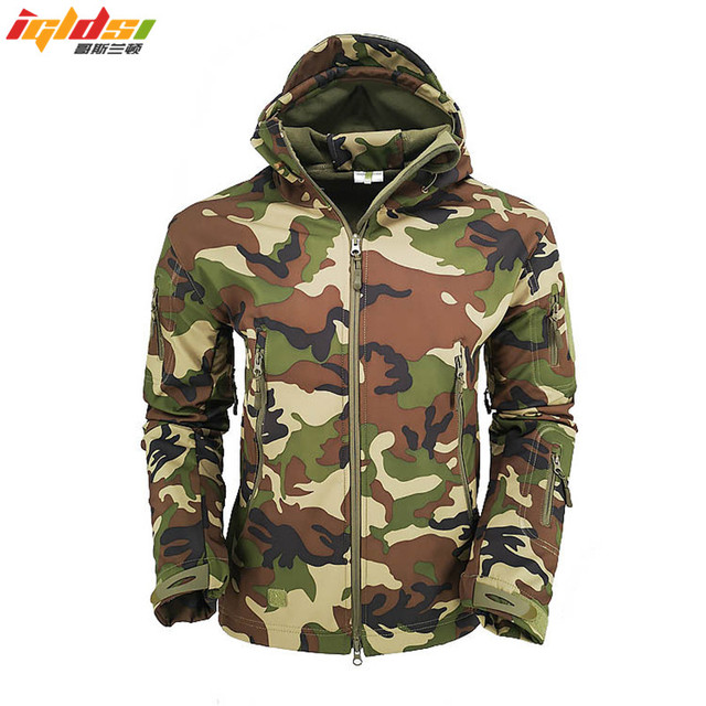 Military Tactical Jacket Men Lurker Shark Skin SoftShell Jacket Windbreaker Army Camouflage Waterproof Hooded Fleece Coats S-3XL