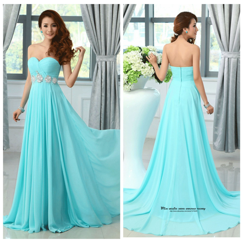 Vestido De Festa Turquoise Bridesmaid Dress Chiffon Two Trap ...