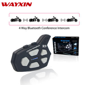 WAYXIN Helmet Headsets R9 Bluetooth Intercom For Motorcycle Fm 4 Riders talking Same Time 1Pcs Intercom Motorcycle 1500M