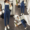 Women Casual Denim Overalls Jumpsuit Clothing 2017  Spring Autumn Blue Strap Ripped Pockets Full Length Denim Jeans Jumpsuit