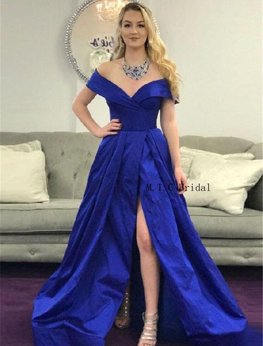 Royal Blue Long Prom Dresses High Split Off The Shoulder Boat Neck A Line Elegant Formal