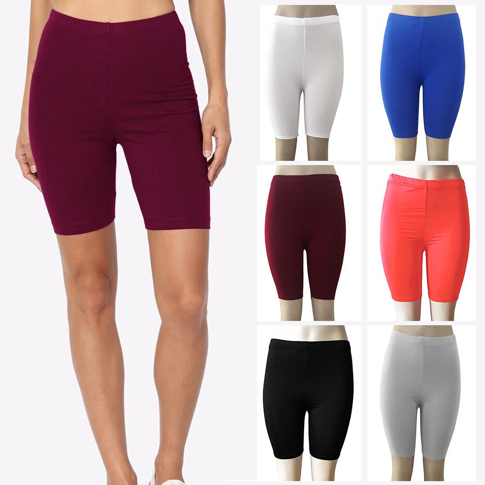 New Fashionable Women Solid Color High Elasticity Gym Active Hot Sale Sink Mid Waist Cycling Slim Shorts For Ladies