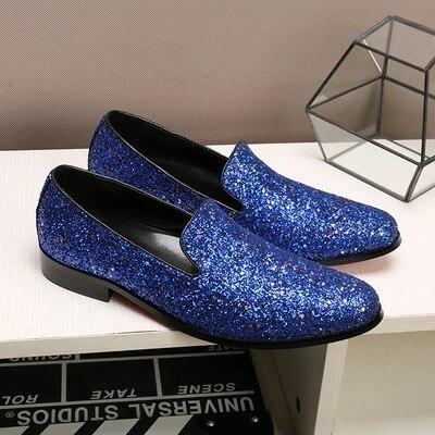 Hombres Oxford Zapatos Cuero 2018 Lentejuelas Bajos Nuevo Azul Los ikwPXZulTO