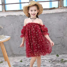 2019 Summer Toddler Girl Red Elegant Dresses Girls Lace Birthday Gifts Party Clothing Bling Star Off-shoulder Cute Dress