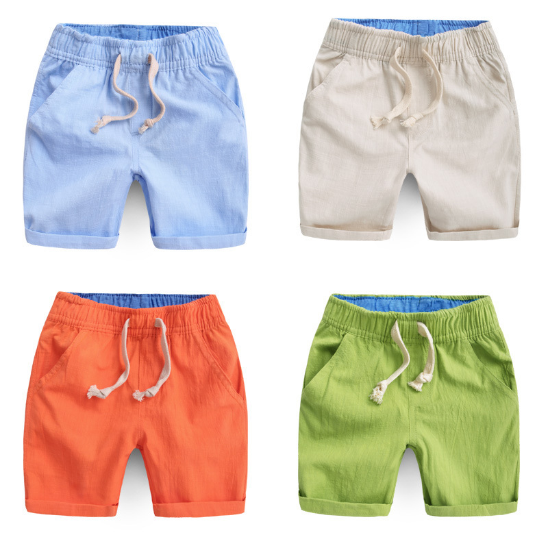 High Qualitiy Cotton Casual Kids Boys Shorts Elastic Waist Solid Color Drawstring Shorts Summer Brand Children Shorts 2008 02