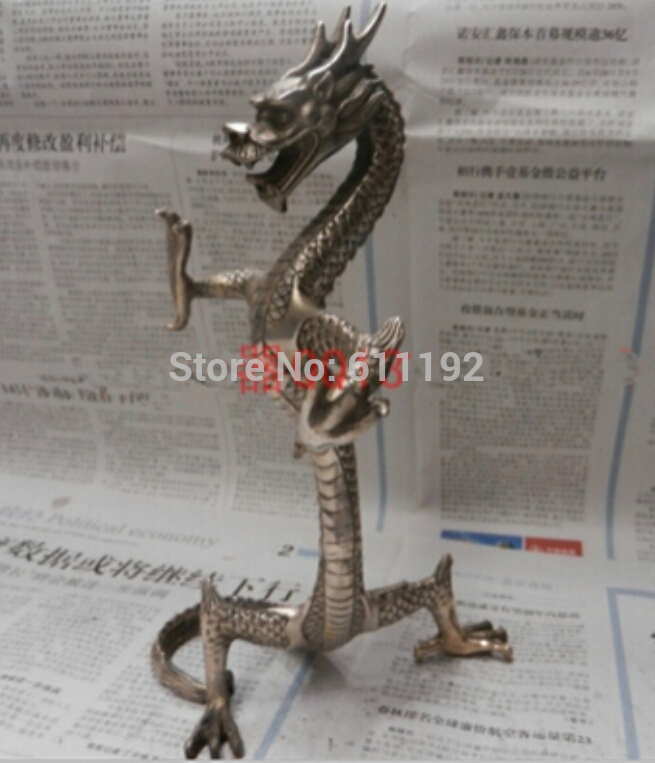 """9.5 Inch high Asian Tibet Silver metal crafts Handwork Carved Rare """"stand dragon """"statue/Sculpture