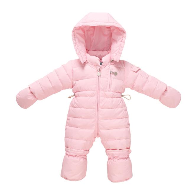 Macacão de bebê Recém-nascido Da Menina do Menino Macacão Snowsuit Pato Térmica Para Baixo Casaco de Inverno Casaco Com Capuz Bonito Macacão Roupas Infantis
