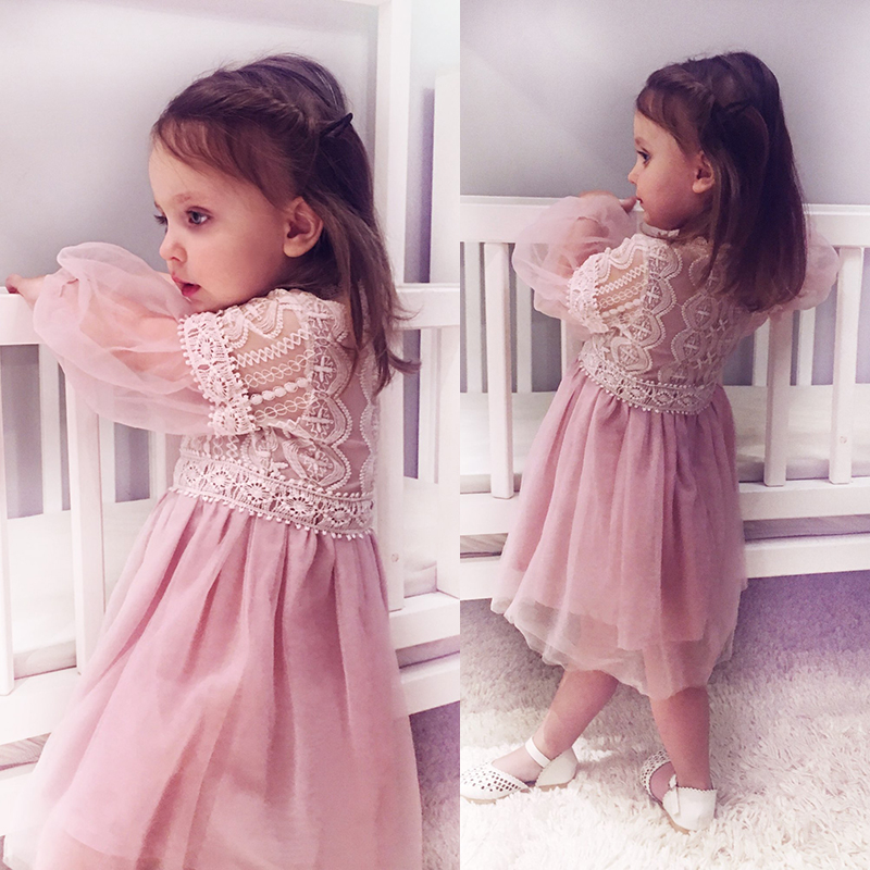 2017Ny sommardräkt Flickor Prinsessaklänning Barnaftonkläder Barn Chiffon Lace Dresses Baby Girl Party Pearl Dress