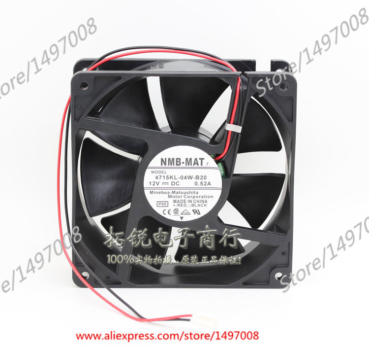 NMB-MAT 4715KL-04W-B20, P00 DC 12V 0.52A 120X120X38mm Server Square fan free shipping for nmb bg1203 b058 p00 l2 dc 24v 1 30a 3 wire 3 pin connector 50mm 120x120x32mm server blower cooling fan