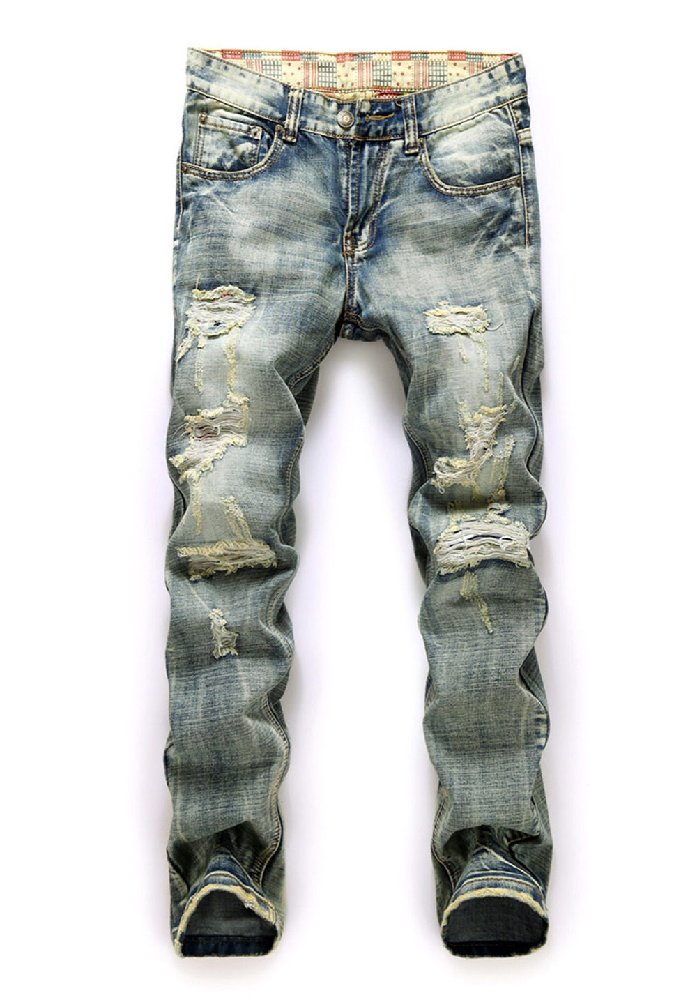 ФОТО Cocominibox Men's Retro Ripped Worn Washed Jeans Straight Denim Pants Casual Trousers