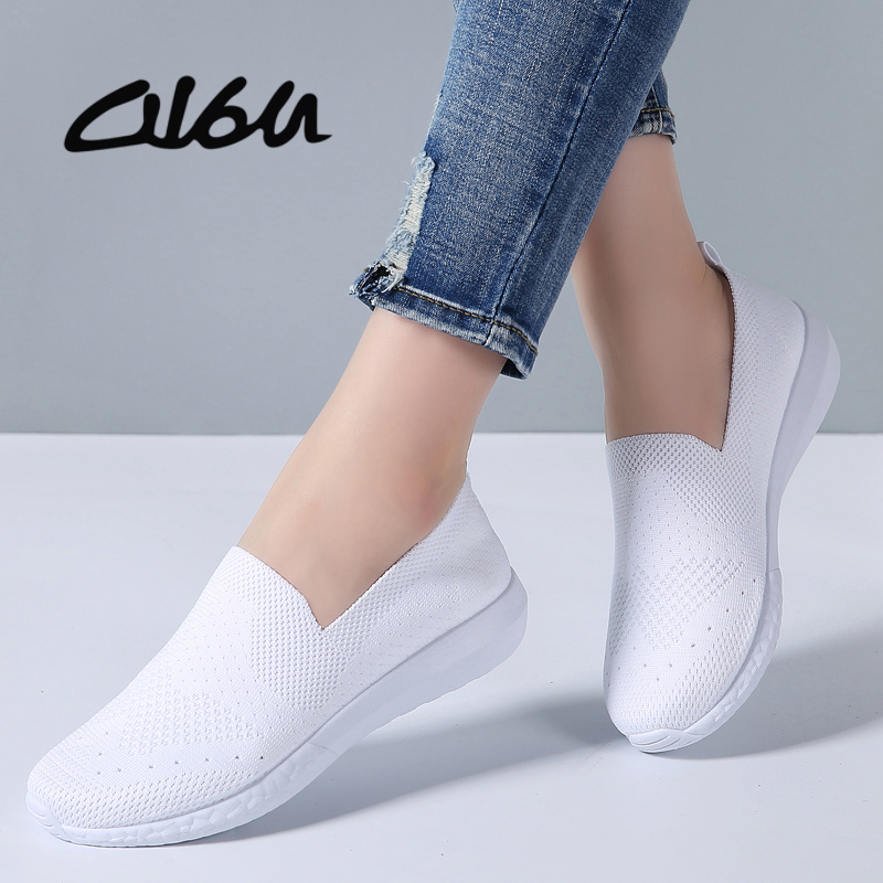 O16U Women Sneakers Breathable Mesh Flats Shoes Casual Loafers Shoes Women Boat Shoes Black Comfortable Ballet Shoes Summer(China)