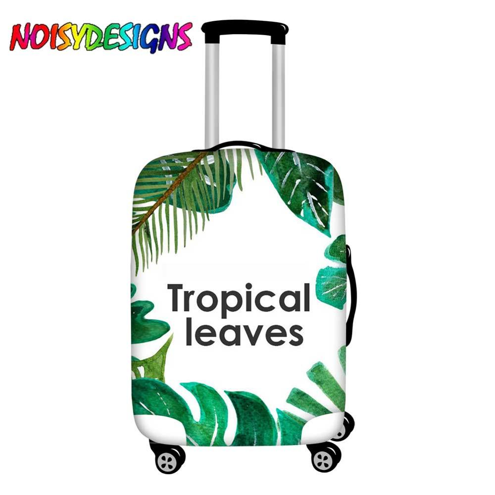 Noisydesigns Elastic Travel Luggage Cover Dustproof Protective Tropical Leaves Travel Suitcase Cover For 18 32 Inch Trolley Bag