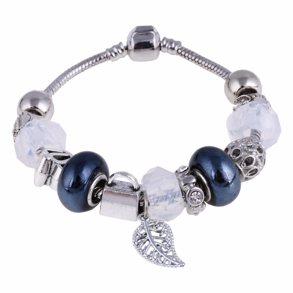 New Fashion Silver Friendship Charm Bracelets Bangles Leave Pendants Beads  Fit European Bracelets Pulseras(china