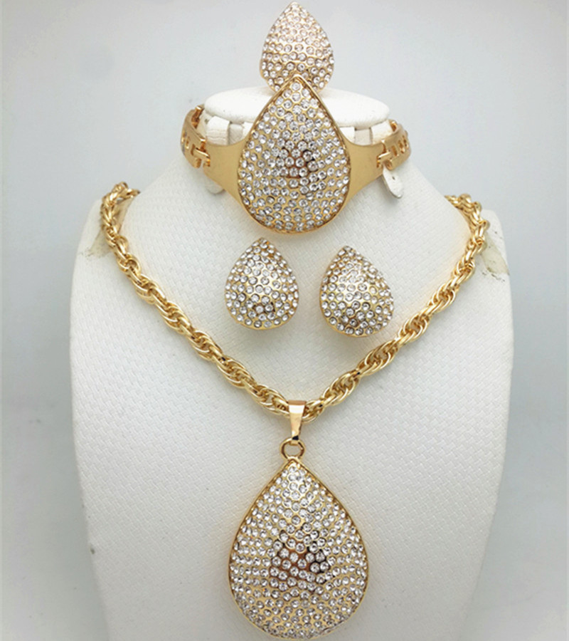 African Gold Color Nigerian Wedding African Beads Jewelry Set