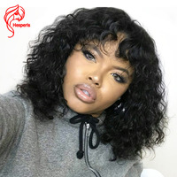 Hesperis Human Hair Lace Front Wigs Brazilian Remy Curly Lace Wig With Bang Short Lace Wigs With Baby Hair Front Lace Wig