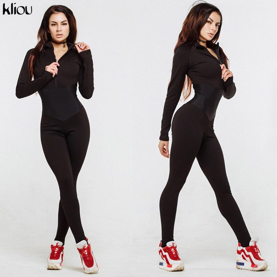 Kliou New Arrival Women Sporting Fitness Jumpsuit Autumn Winter Full Sleeve Zipper Turtleneck Skinny Slim Female Casual Bodysuit